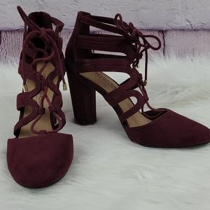 Christian Siriano Aubergine lace up heels size 6.5